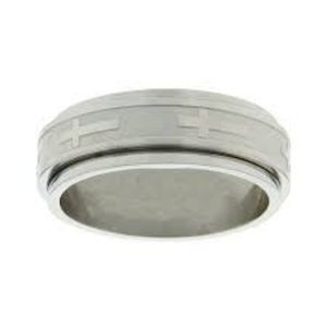 Spinner Ring STAINLESS STEEL Men Unisex Cross